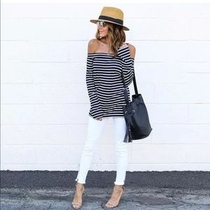 Tops - Black & White Striped Off Shoulder Tunic